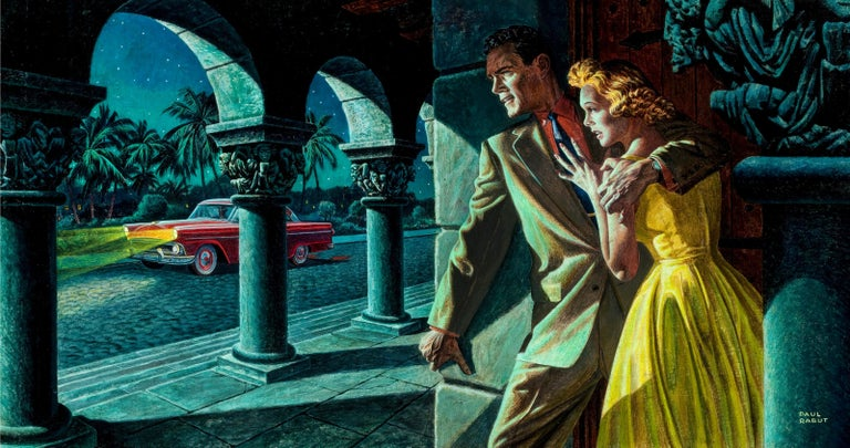 Paul Rabut Figurative Painting - Pulp Mystery . That police officer knows you are here. Saturday Evening Post