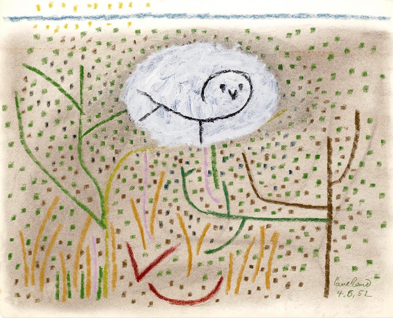 Paul Rand Animal Painting - Untitled Owl in the Grass