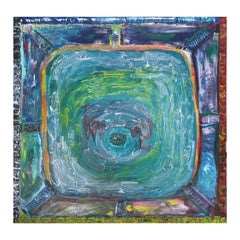 Colorful Blue and Green Toned Modern Abstract Impasto Painting