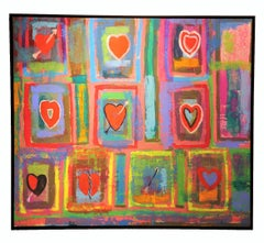 """Love Cycle"" Abstract Expressionist Hearts Painting"