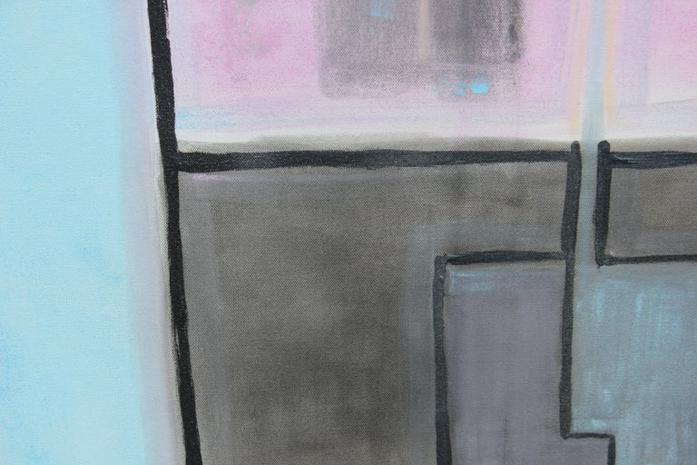 Pink, Blue and Black Floral Still Life Abstract - Gray Still-Life Painting by Paul Reeves