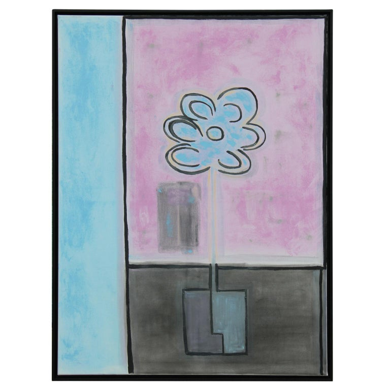 Paul Reeves Still-Life Painting - Pink, Blue and Black Floral Still Life Abstract