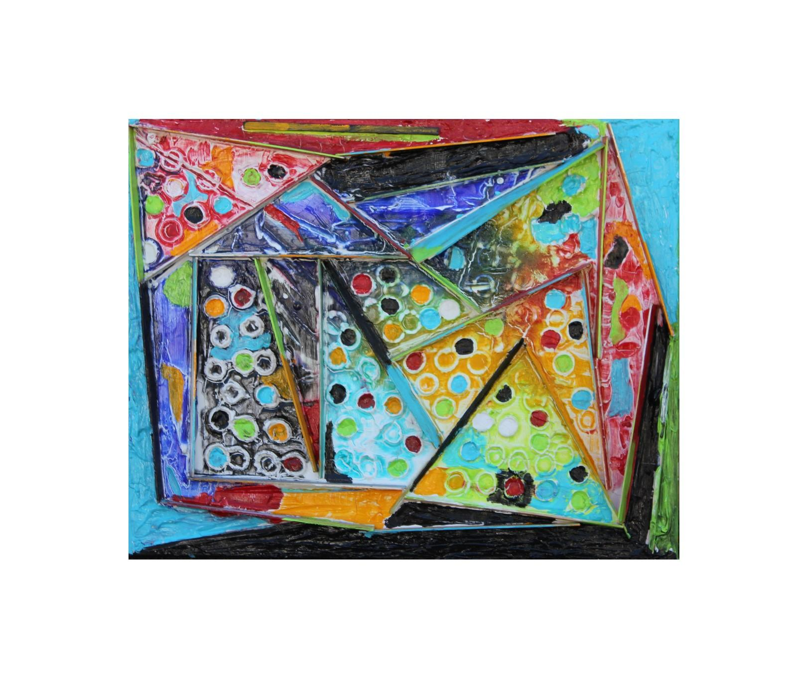 """""""Rebuild the Temple #3"""" Colorful Abstract Assemblage Painting"""