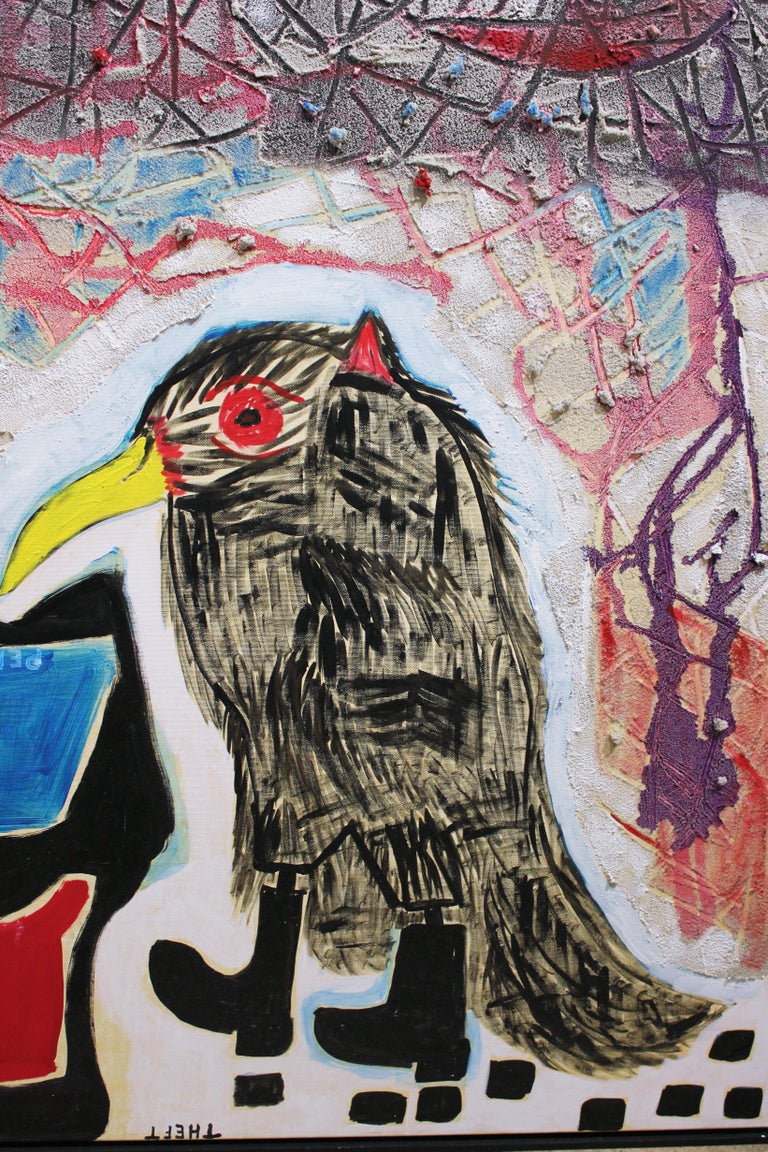 Mixed media painting with a crow wearing boots. Blue and red shapes with various words fill the left side of the canvas. The top of the canvas has a pumice texture with intersecting lines and various colors. Painting is signed, dated and titled by