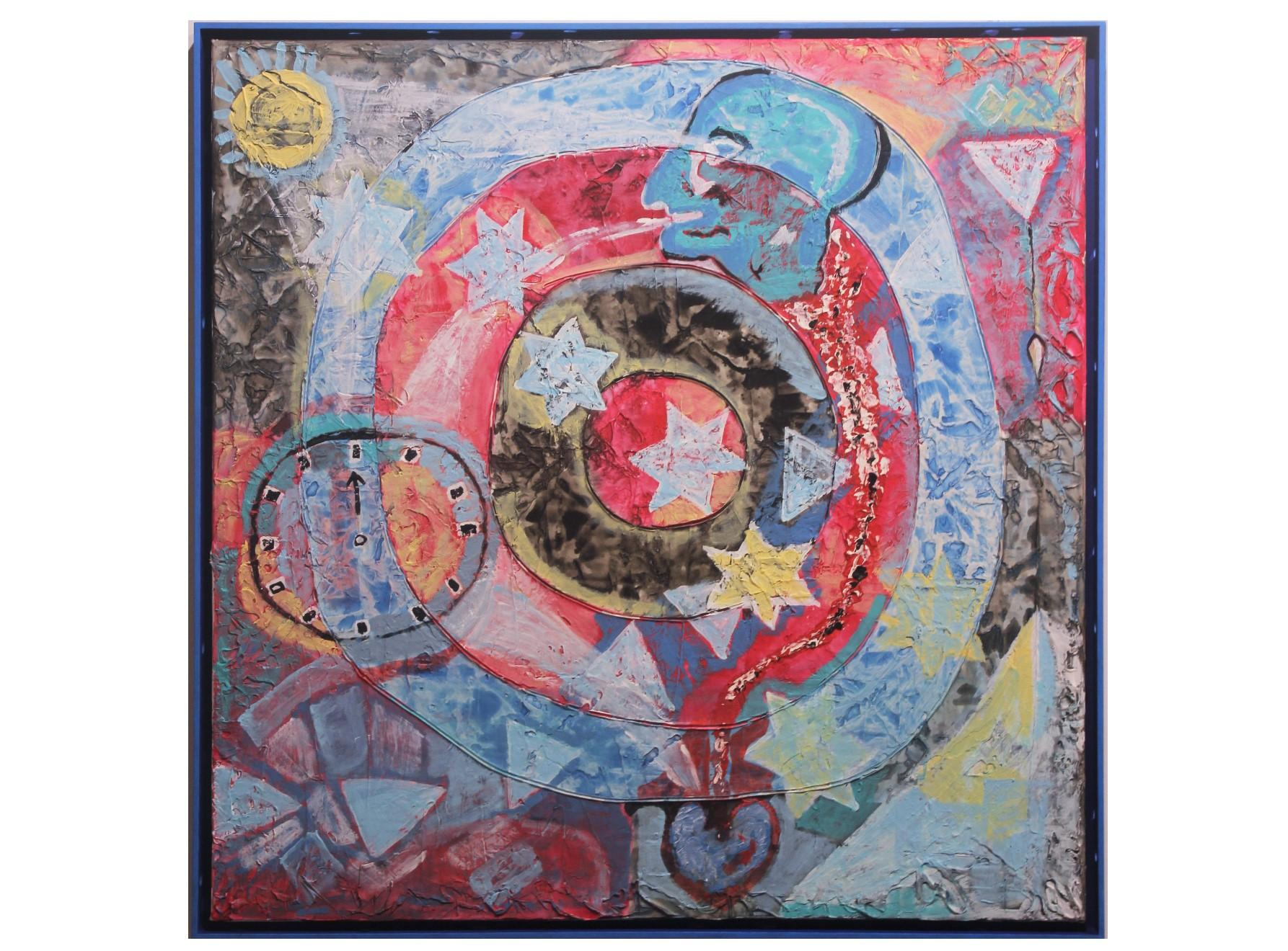 """""""Time Cycle"""" Abstract Surrealist Red and Blue Painting"""