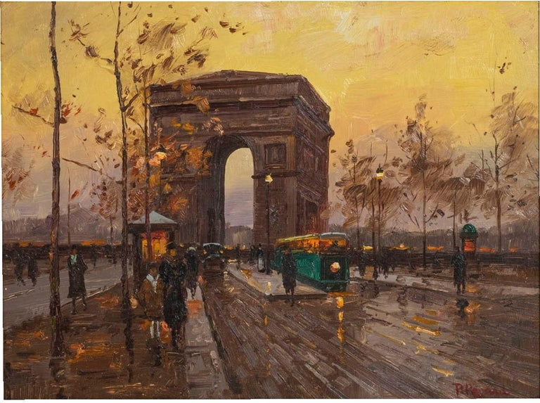 Paul Renard Champs-Élysées Signed P Renard Oil on Panel In Good Condition For Sale In Palm Beach, FL