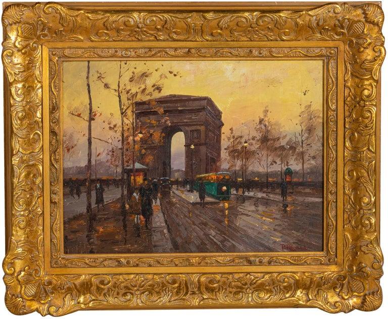 20th Century Paul Renard Champs-Élysées Signed P Renard Oil on Panel For Sale