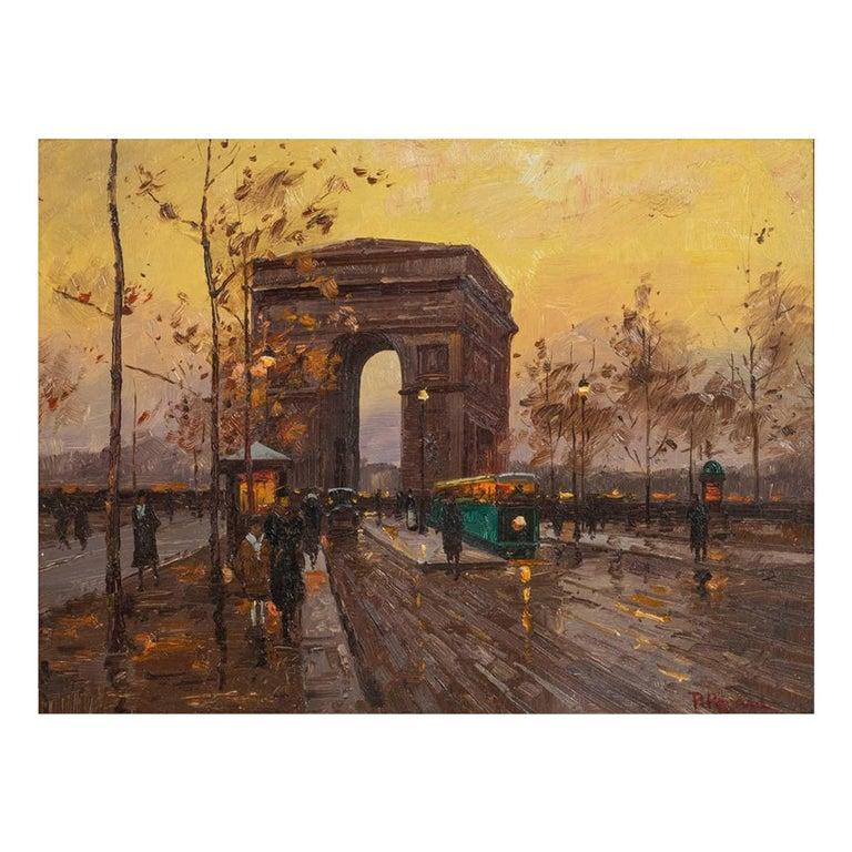Paul Renard Champs-Élysées Signed P Renard Oil on Panel For Sale