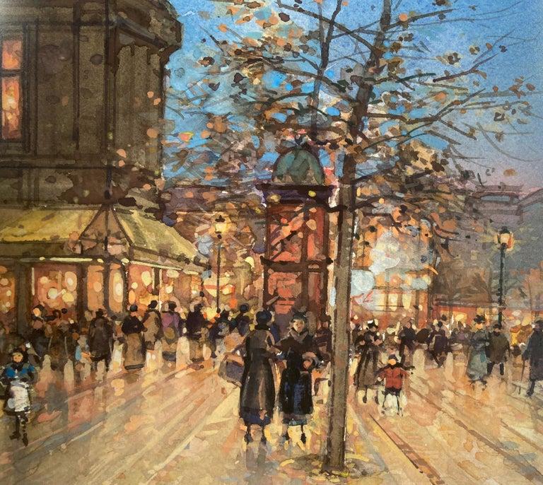Paris Promenade - Post-Impressionist Painting by Paul Renard
