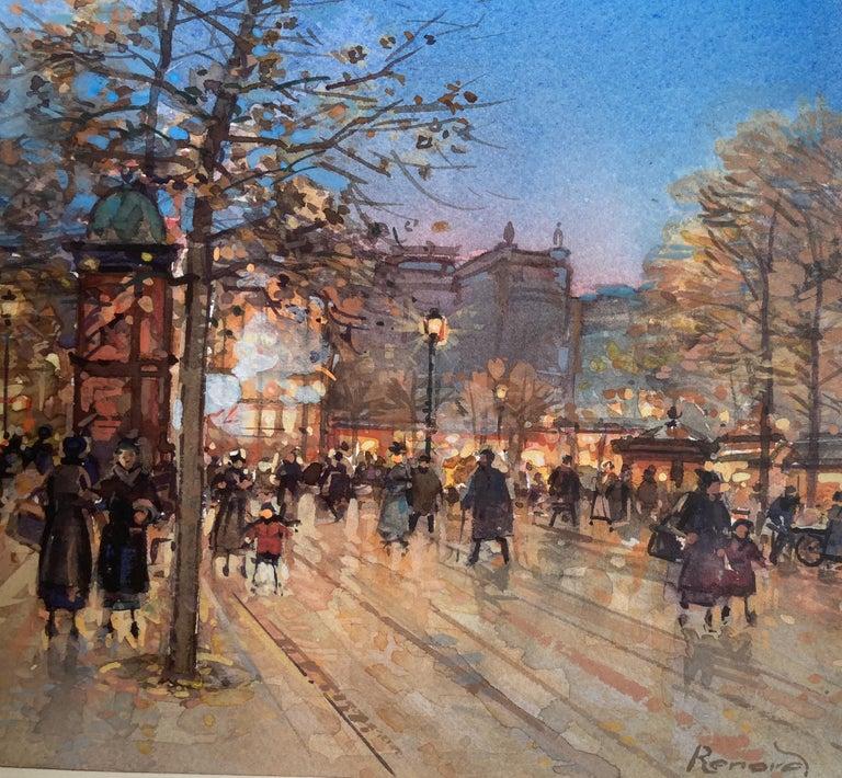 Paris Promenade - Gray Figurative Painting by Paul Renard
