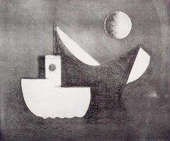 Still Boats and Moon (stylized waterscape of boats and moon by Print Club of NY)