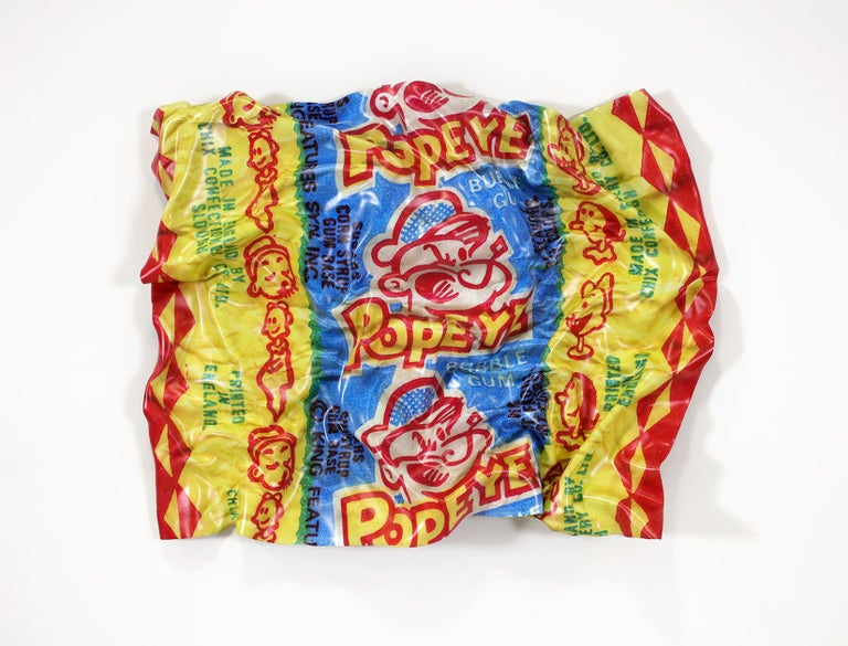 Popeye Bubble Gum Wrapper, Paul Rousso Pop-Art Hand-Sculpted Candy Polystyrene  - Mixed Media Art by Paul Rousso