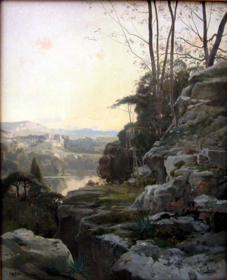 Beautiful oil on canvas by French Avignon artist Paul Saïn (1853-1908) representing a riverside landscape. The painting framed in a beautiful 19th century styled frame, with classical technique, is reminiscent of the great