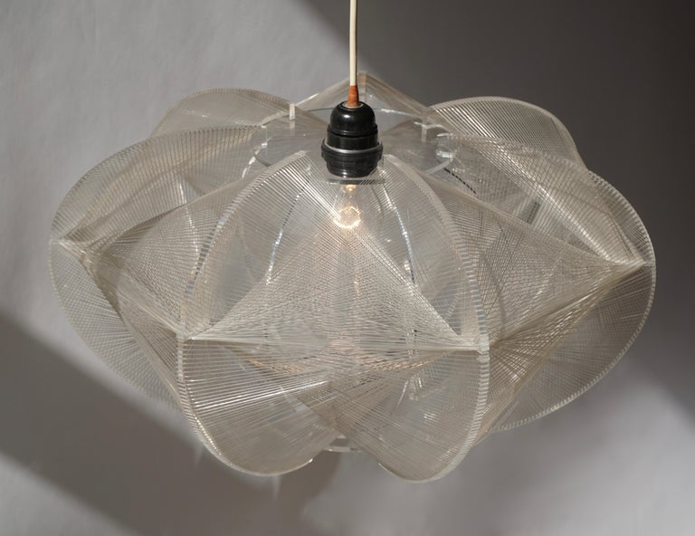 Paul Secon for Sompex-Clear Wire Pendant Lamp, 1970s For Sale 4
