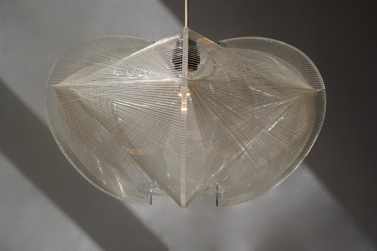 Paul Secon for Sompex-Clear Wire Pendant Lamp, 1970s For Sale 6