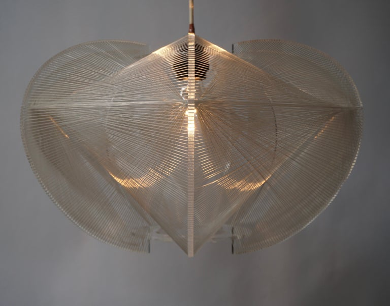 Paul Secon for Sompex-Clear Wire Pendant Lamp, 1970s For Sale 7