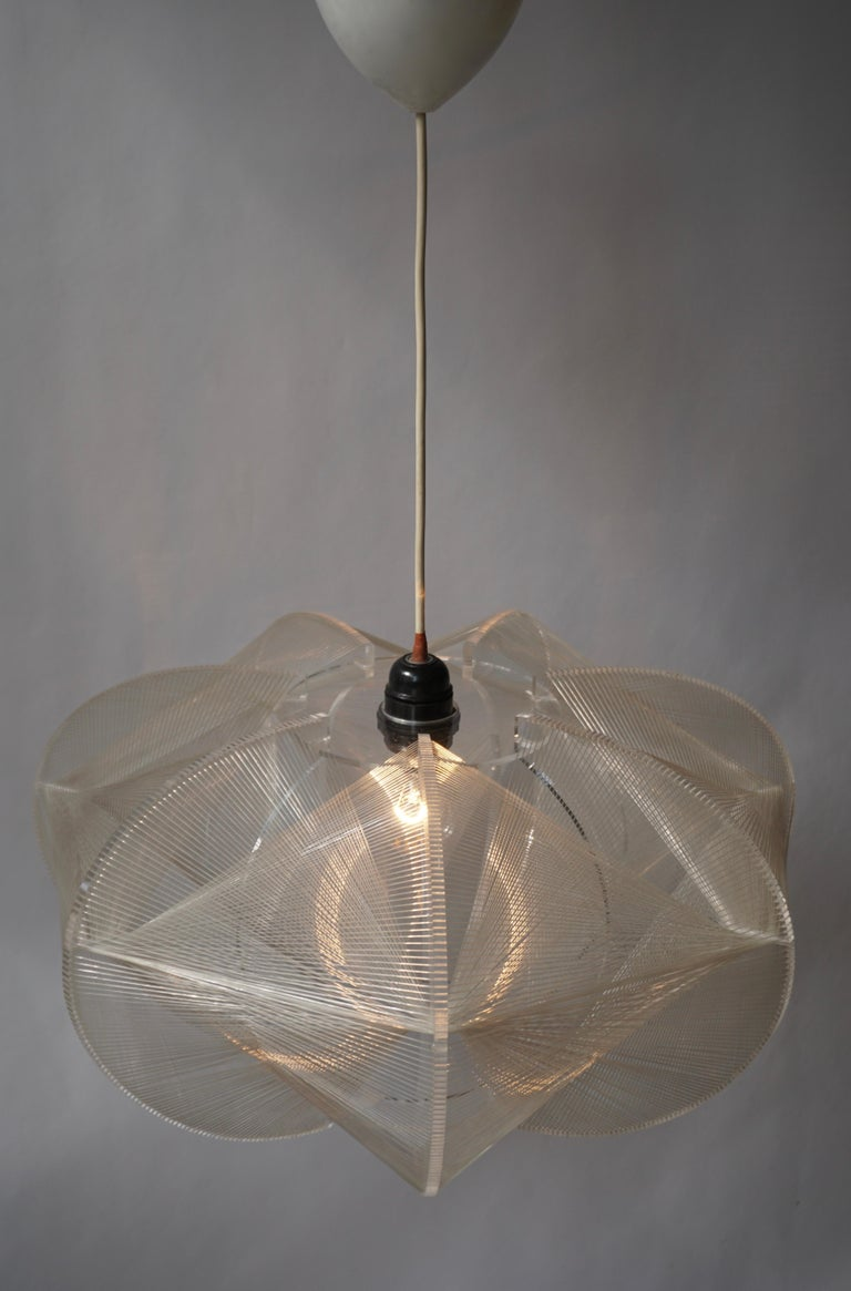 Paul Secon for Sompex-Clear Wire Pendant Lamp, 1970s For Sale 9