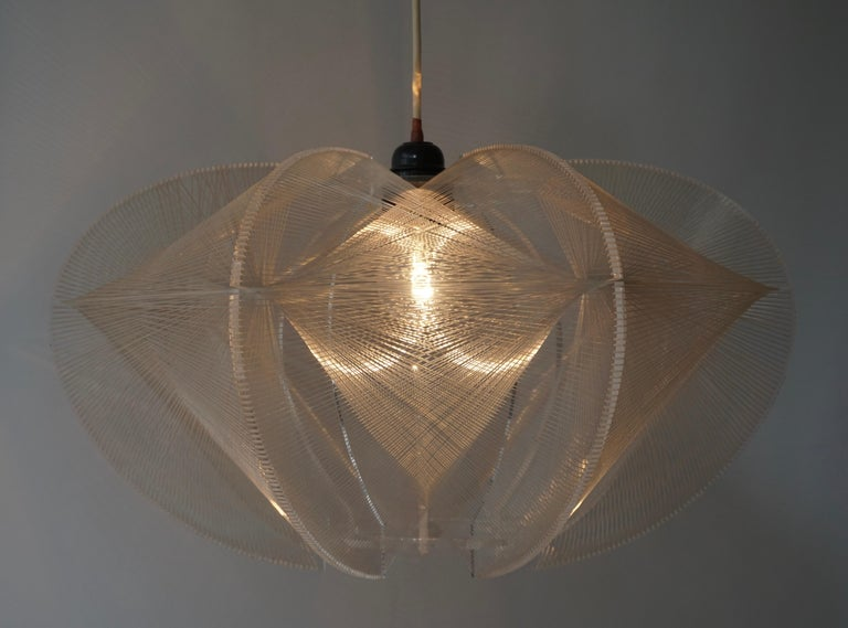 Paul Secon for Sompex-Clear Wire Pendant Lamp, 1970s For Sale 11