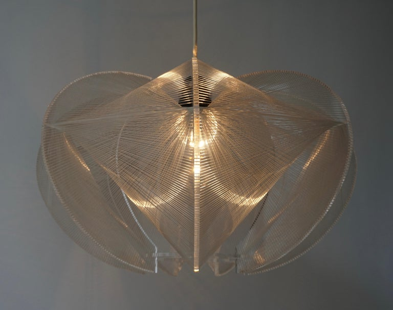 Paul Secon for Sompex-Clear Wire Pendant Lamp, 1970s For Sale 12