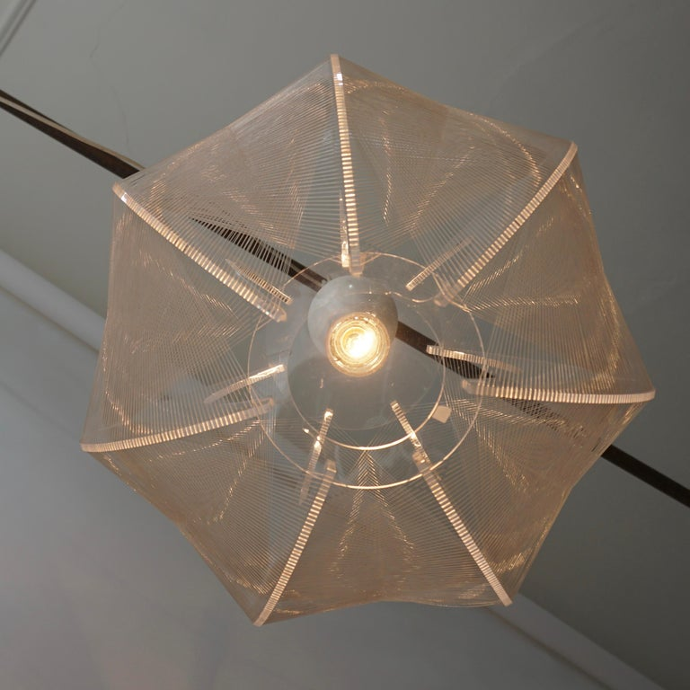 Mid-Century Modern Paul Secon for Sompex-Clear Wire Pendant Lamp, 1970s For Sale