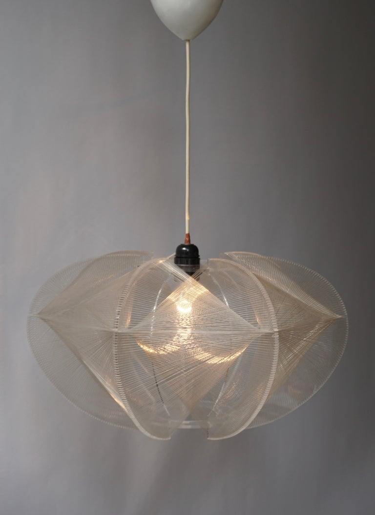 French Paul Secon for Sompex-Clear Wire Pendant Lamp, 1970s For Sale