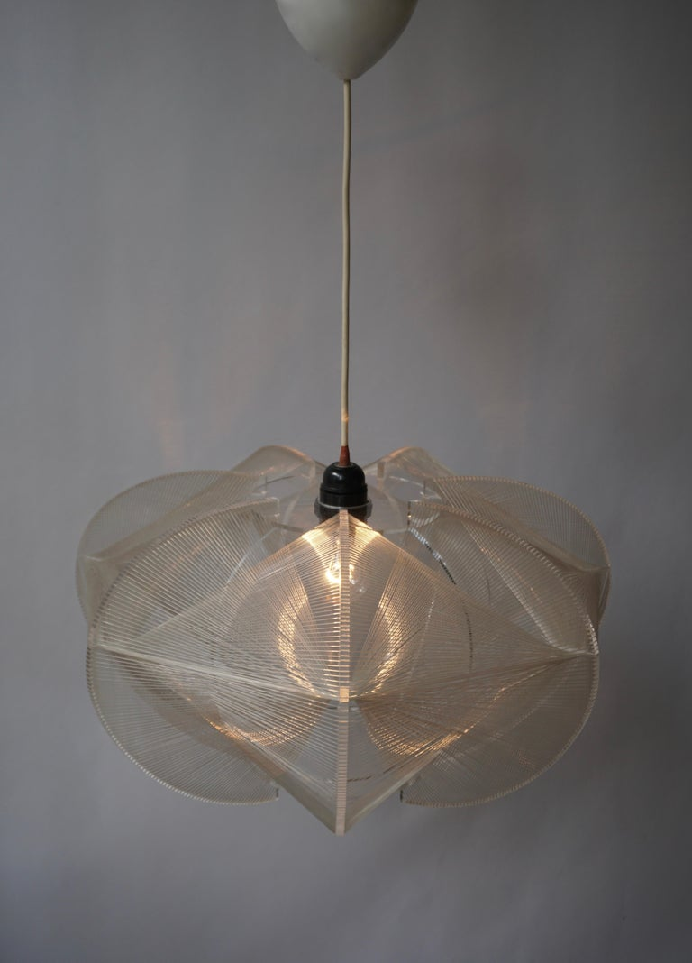 Paul Secon for Sompex-Clear Wire Pendant Lamp, 1970s In Good Condition For Sale In Antwerp, BE