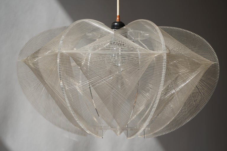 Acrylic Paul Secon for Sompex-Clear Wire Pendant Lamp, 1970s For Sale