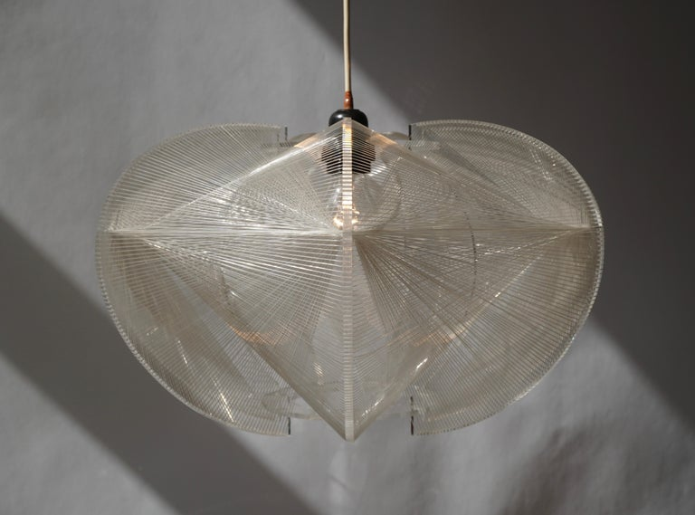 Paul Secon for Sompex-Clear Wire Pendant Lamp, 1970s For Sale 2
