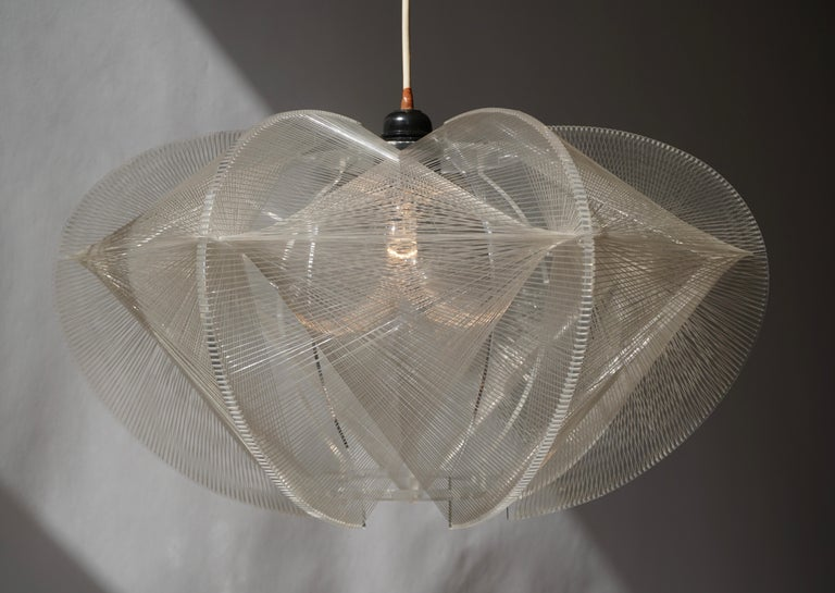 Paul Secon for Sompex-Clear Wire Pendant Lamp, 1970s For Sale 3