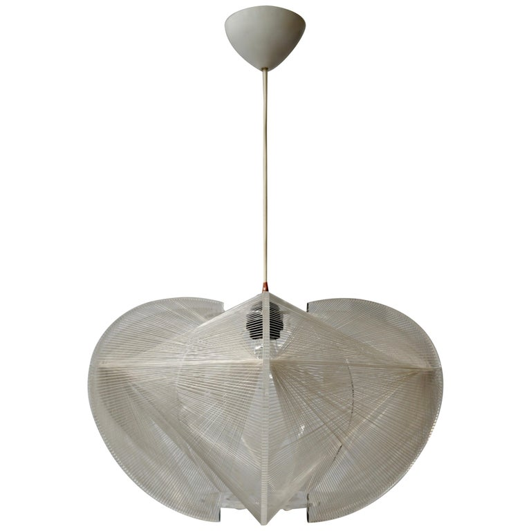 Paul Secon for Sompex-Clear Wire Pendant Lamp, 1970s For Sale