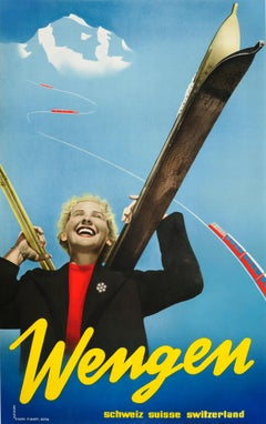 Original Vintage Swiss Ski Travel Poster For Wengen Switzerland Bernese Oberland