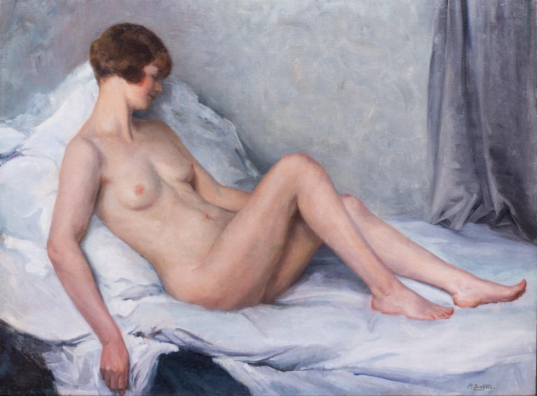 Large oil painting of a nude in pastel colours by French artist Paul Sieffert - Art Deco Painting by Paul Sieffert