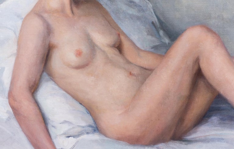 Large oil painting of a nude in pastel colours by French artist Paul Sieffert For Sale 1