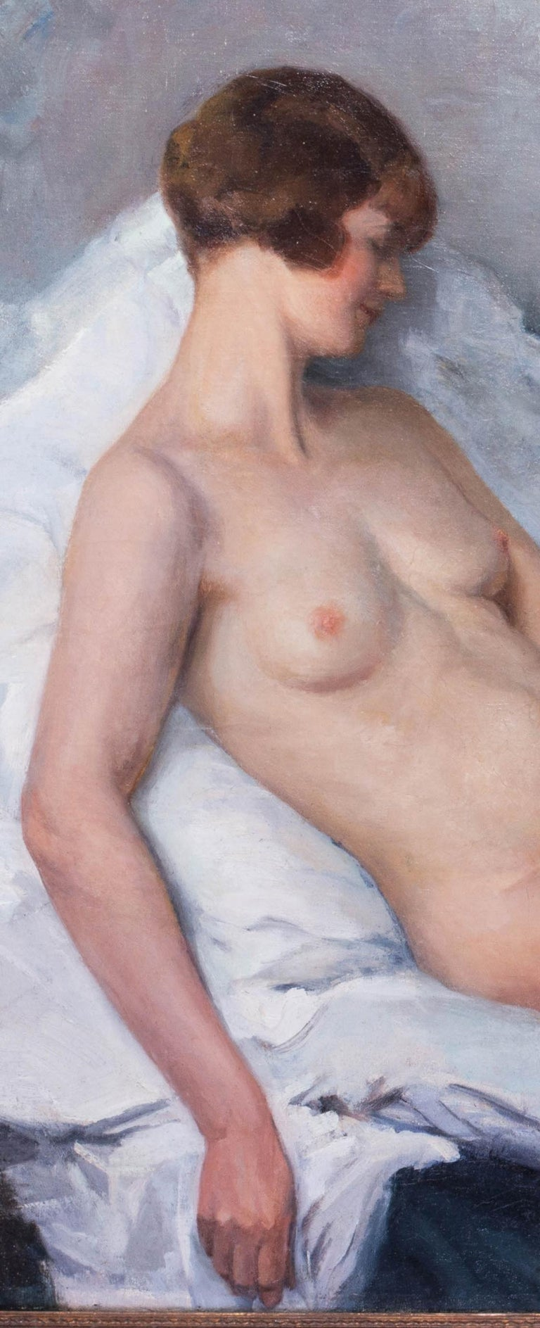 Large oil painting of a nude in pastel colours by French artist Paul Sieffert For Sale 2