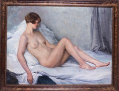 Large oil painting of a nude in pastel colours by French artist Paul Sieffert