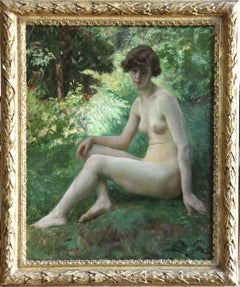 Femme au Divan - 19th Century Oil, Nude Female Figure in Landscape by P Sieffert