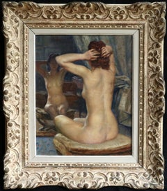 Nu - 19th Century Oil, Nude Female Figure Seated in Interior by Paul Sieffert