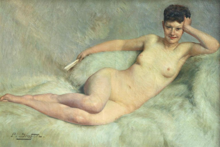 Nu a la fourrure blanche - Impressionist Oil, Nude by Paul Sieffert For Sale 1