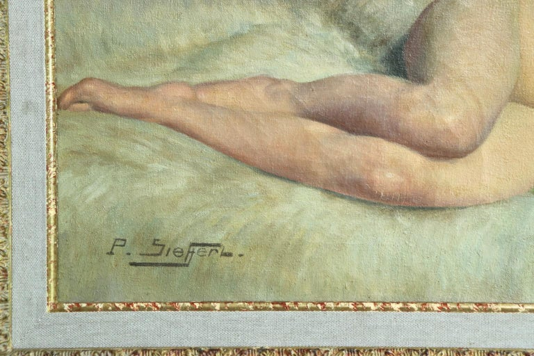Nu a la fourrure blanche - Impressionist Oil, Nude by Paul Sieffert For Sale 2
