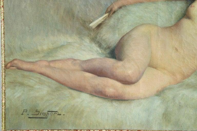 Nu a la fourrure blanche - Impressionist Oil, Nude by Paul Sieffert For Sale 8
