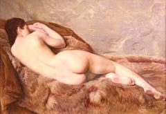 Nu Allonge - Impressionist Oil, Nude Woman Resting by Paul Sieffert
