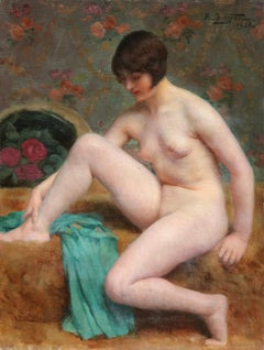Nude Bather - 20th Century Oil, Woman Figure in Interior by Paul Sieffert