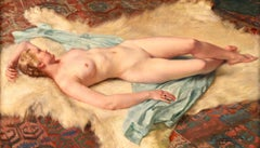 Nude Resting on Fur Rug - Impressionist Oil, Portrait of a Nude by Paul Sieffert