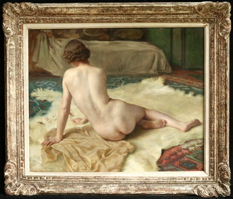 Patience - 20th Century Oil, Nude Playing Cards in Interior by Paul Sieffert For Sale 1