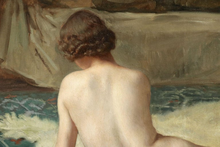 Patience - 20th Century Oil, Nude Playing Cards in Interior by Paul Sieffert For Sale 2
