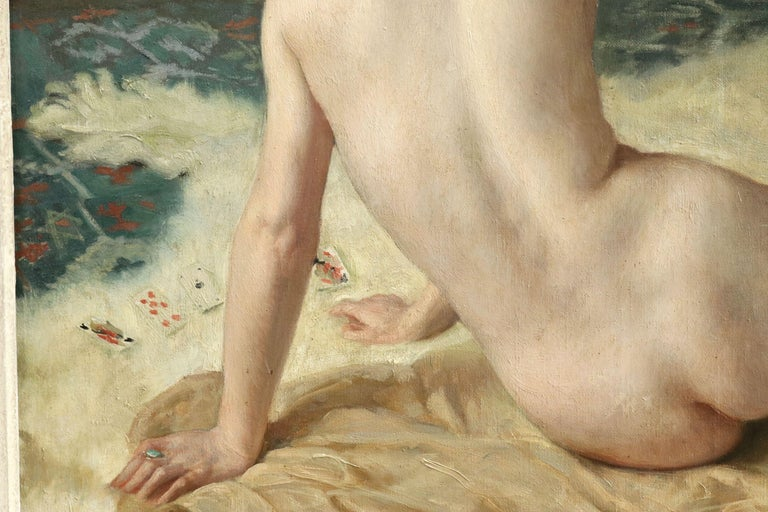 Patience - 20th Century Oil, Nude Playing Cards in Interior by Paul Sieffert For Sale 3