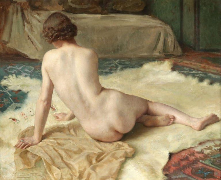 Oil on canvas by Paul Sieffert of a nude playing cards as she rests on a an animal skin rug. Signed lower let and further signed, dated 1939 and numbered verso. Framed dimensions are 26 inches high by 30 inches wide. This work is number 328 in the