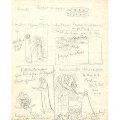 Paul Signac four pages of original sketches