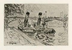 Paris: Le Pont des Arts avec Remorqueurs (Le Pont des Arts with Tugboats)