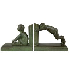 Paul Silvestre Art Deco Bronze Bookends Boy and Girl Satyr, 1920